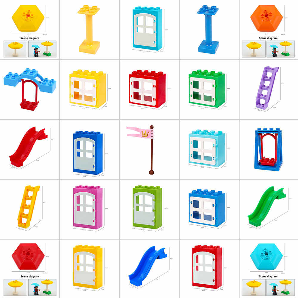 Kids Fence Sliding Ladder Window Bricks Big Particles Building Blocks Accessory Gift Toys Playmobil Compatible with Legoly Duplo