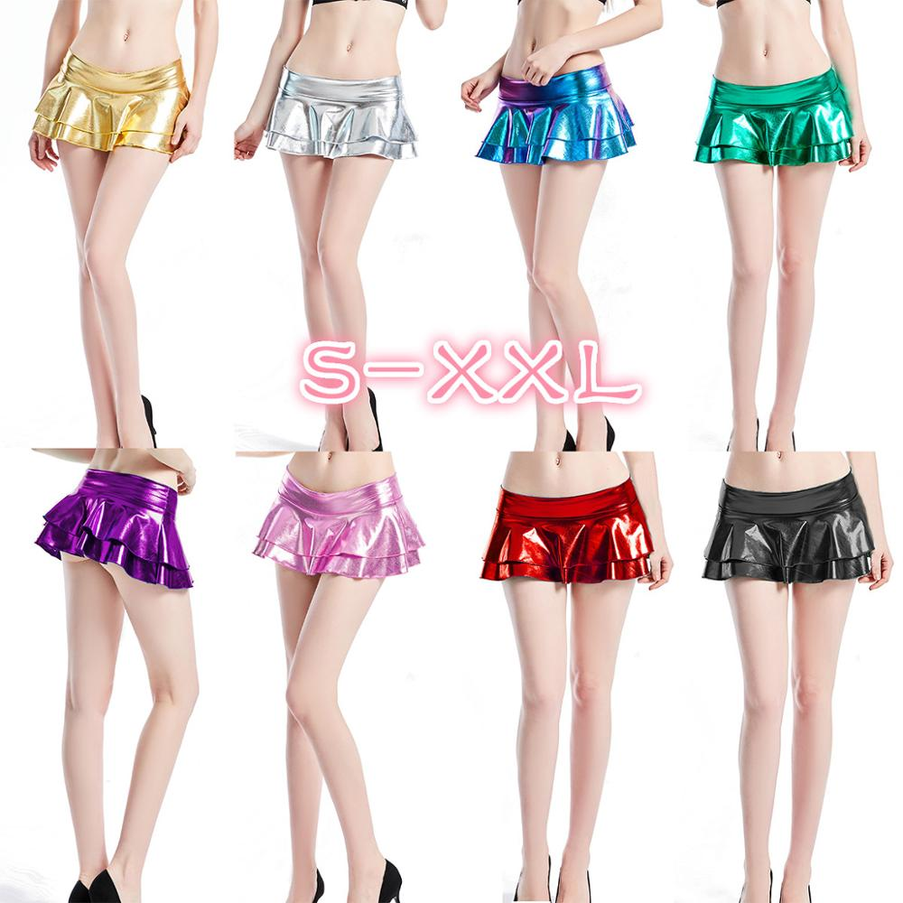Gold Shiny Sexy Low Waist Luminous Miniskirt Women Metallic Faux Leather Pleated Night Club Bar PU Fantasy Mini Skirt