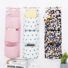 Cotton Linen Printing Hanging Storage Bag 3 Pockets Wall Mounted Wardrobe Hang Bag Wall Pouch Cosmetic Toys Organizer fulllove 12 pockets 32 72cm linen storage bag number print navy hanging organizer for cosmetic books home storage