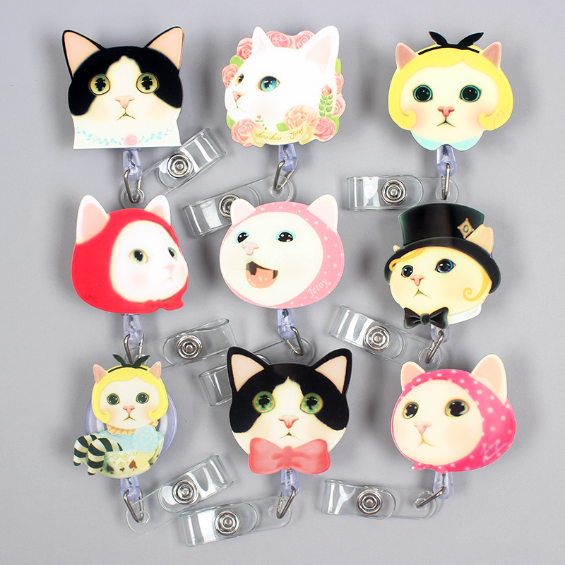 Creative Personality Expression Cats  Pretty Retractable Badge Card Holder Reel Nurse Exhibition Enfermera Girls Name Card Chest