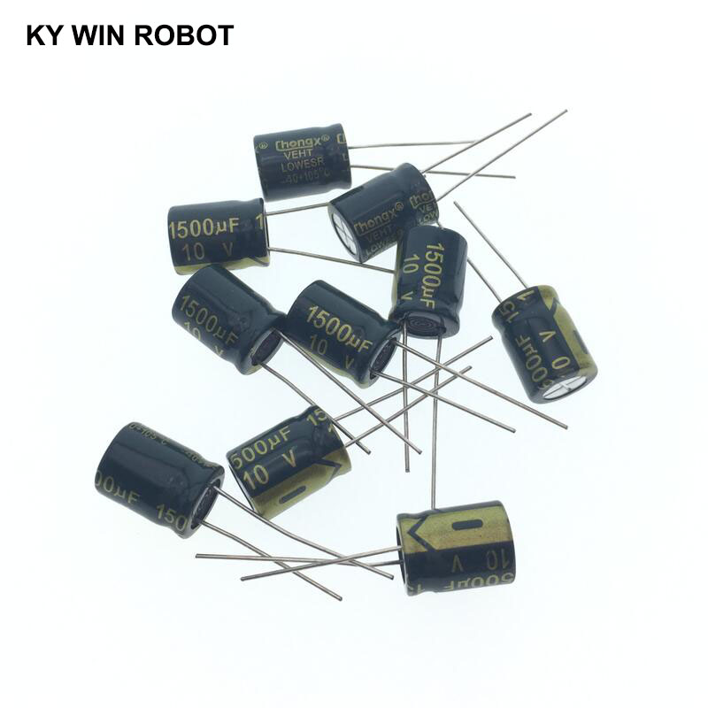 10 Pcs Aluminum Electrolytic Capacitor 1500 UF 10 V 10 * 13 Mm Frekuensi Tinggi Radial Electrolytic Kapasitor