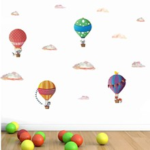 Creative Hot Air Balloon Clouds Animal Wall Stickers Funny Cartoon Art Wall Decal for Kids Rooms Bedroom Living Room Home Decor bedroom wall decor deer wall stickers for kids rooms door stickers muraux home living room house decoration accessories