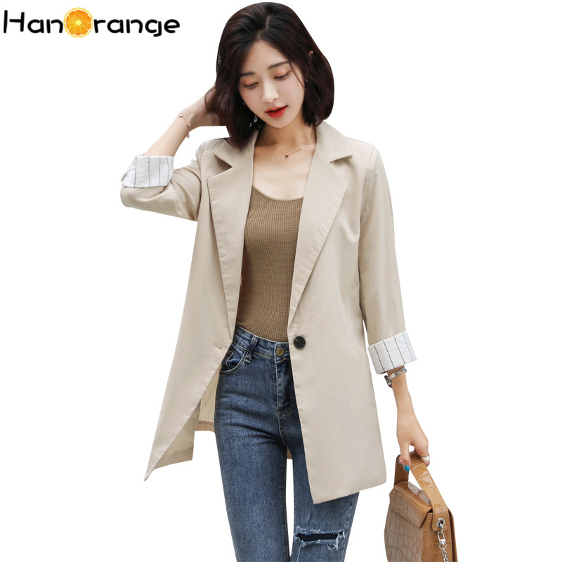 One Button Cotton Linen Women Long Blazer 2020 Spring Autumn Three-quarter Sleeves Suit Jacket Personality Ability Simpleness