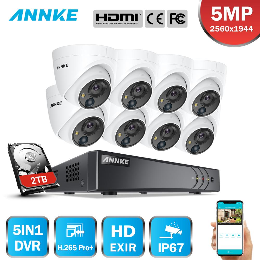 ANNKE 8CH 5MP Security Camera System 5MP Lite 5IN1 H.265+ DVR With  IP67 5MP PIR HD EXIR Dome Weatherproof Surveillance CCTV Kit