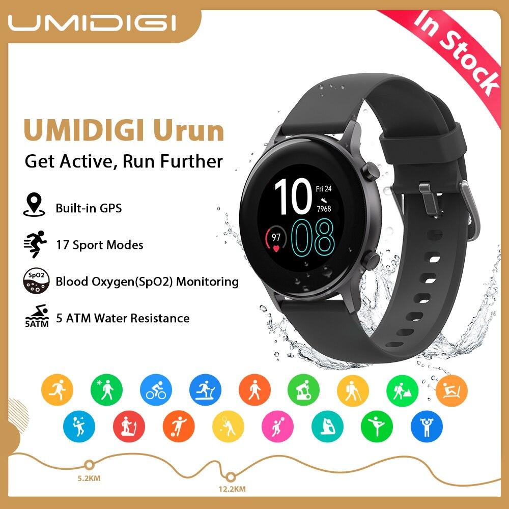 """Umidigi urun smartwatch gps 1.1 """"cor freqüência cardíaca sono monitoramento esporte relógio inteligente 5atm à prova dwaterproof água para android ios relógio"""
