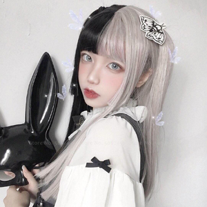 Image 2 - Girls Japanese Anime White Black Pink Wig Cosplay Costumes Women Gothic Two Color Long Hair Stage Party Props Kawaii Headwear