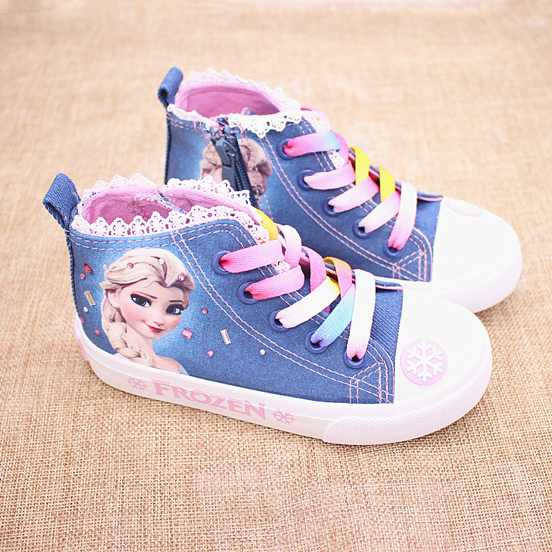 Girls Frozen Elsa Princess Canvas Shoes  Children Low Cut Sneaker Cartoon Soft Casual Shoes