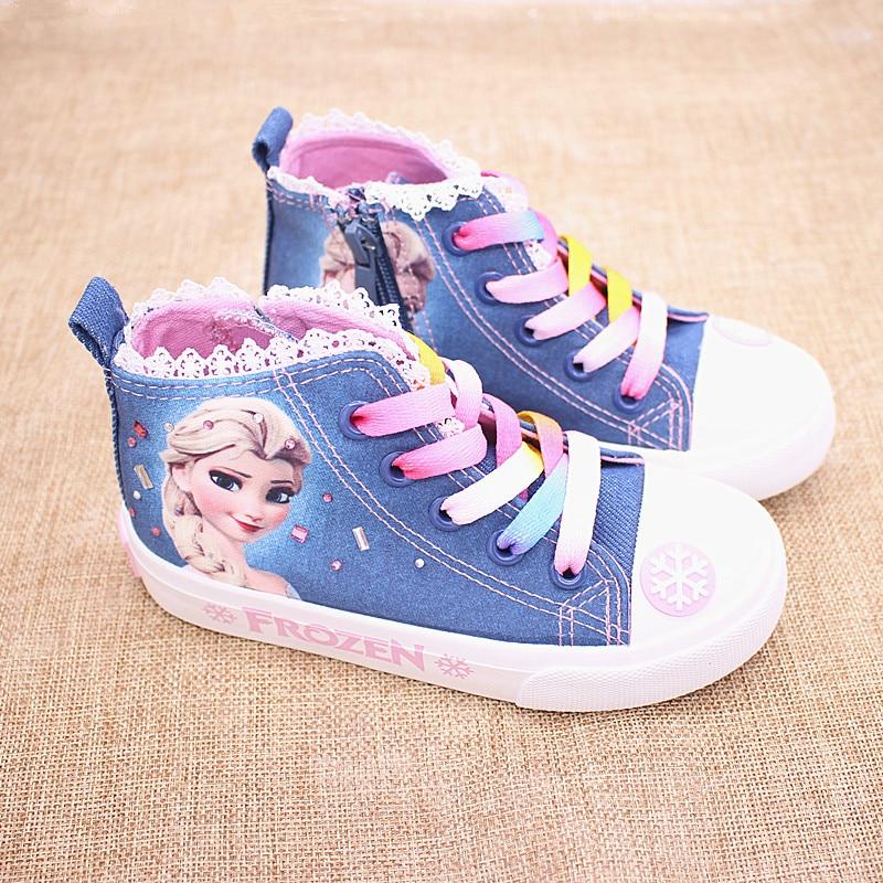 Girls Frozen Elsa Princess Canvas Shoes  Children Low Cut Sneaker Cartoon Soft Casual Shoes