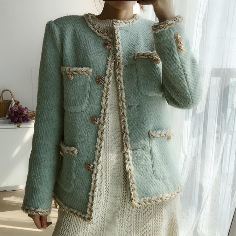 Small Fragrance Tweed Short Woolen Jacket Women O-neck Loose Thick Wool Blends Coat