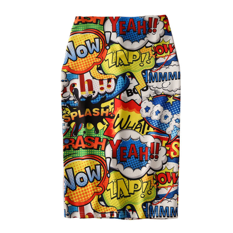 Women Harajuku Pencil Skirts Colorful Cartoon Yeah! Letters Printing High Waist Slim Midi Split Sexy Female Falda SP532