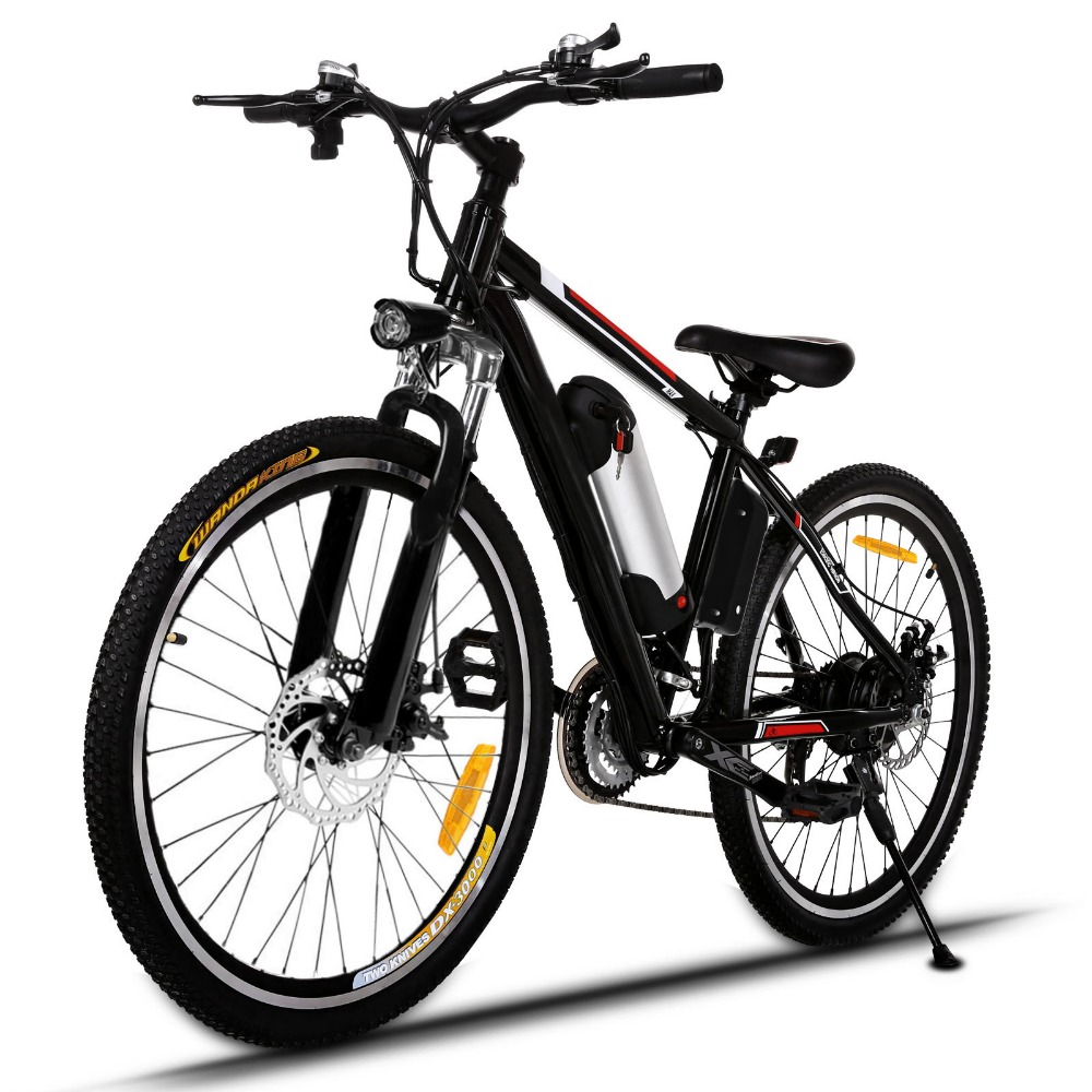 Folding Electric Mountain Bike with Lithium-Ion Battery 25 inch Wheel Aluminum Alloy Frame Mountain Bike Cycling Bicycle Black