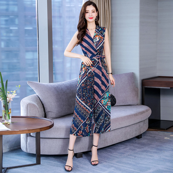 2019 Summer Print Jumpsuit for Women Ankle Length Chiffon Bohemian Jumpsuits Rompers with Sashes Plus Size 3XL