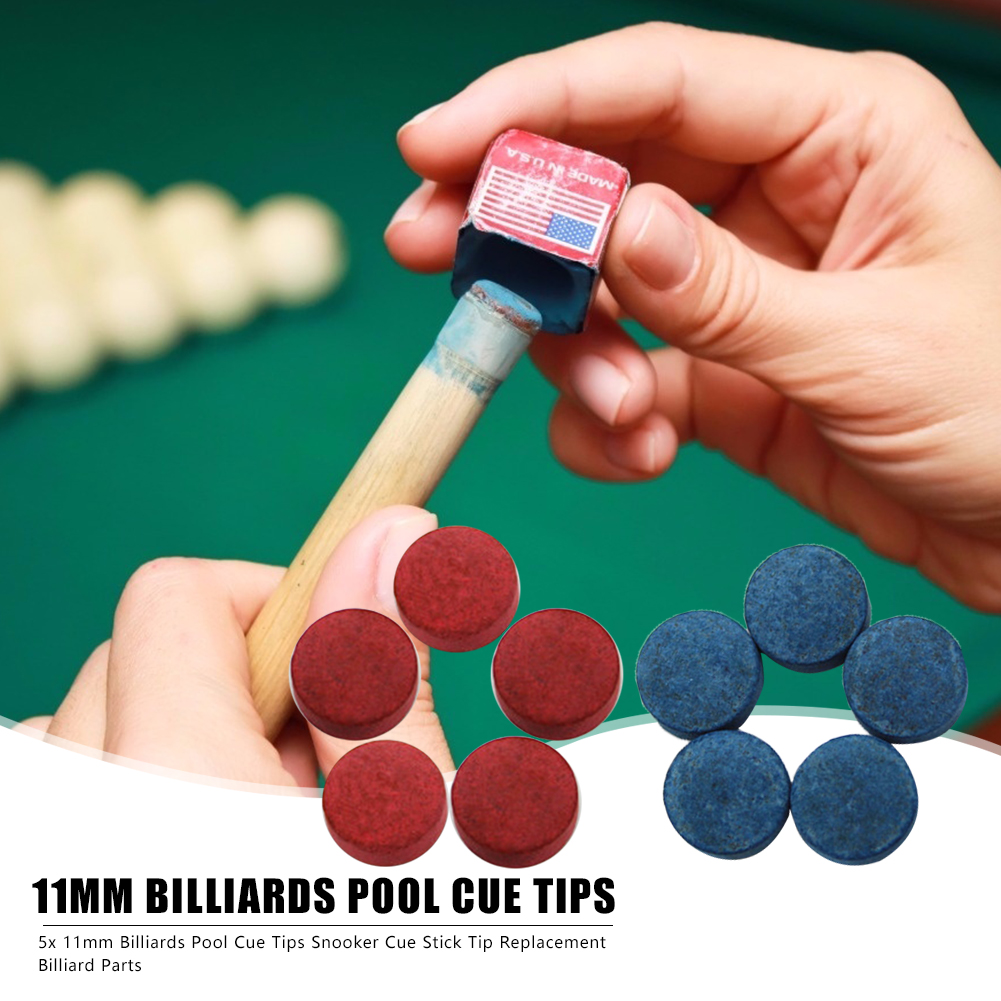 5pcs Snooker Cue Tips Replacement Blue/Red Buffalo Leather Protection Head Billiards Accessories Entertainment Tools