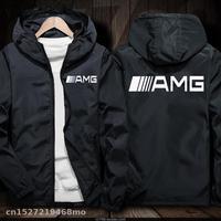 Winddicht Jacke für AMG logo in auto Jacke Motorrad Mobike Reiten Mit Kapuze Anzug Windjacke Racing Anzug-in Jacken aus Kraftfahrzeuge und Motorräder bei