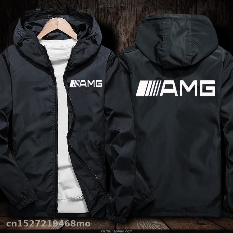 Windproof Jacket For AMG Logo In Car Jacket Motorcycle Mobike Riding Hooded Suit Windbreaker Racing Suit