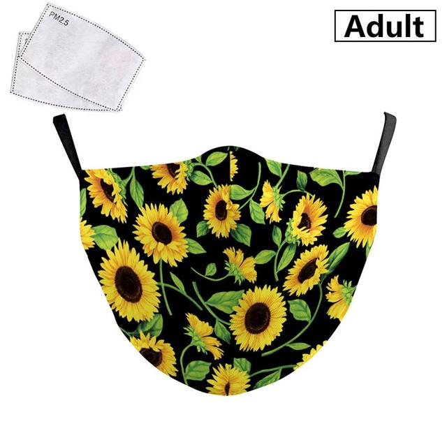 PM2.5 Face Adult Mask Plum blossom sunflower Print Mask Reusable Washable Filter Pad Pollution Activated Carbon Women Face Masks 3