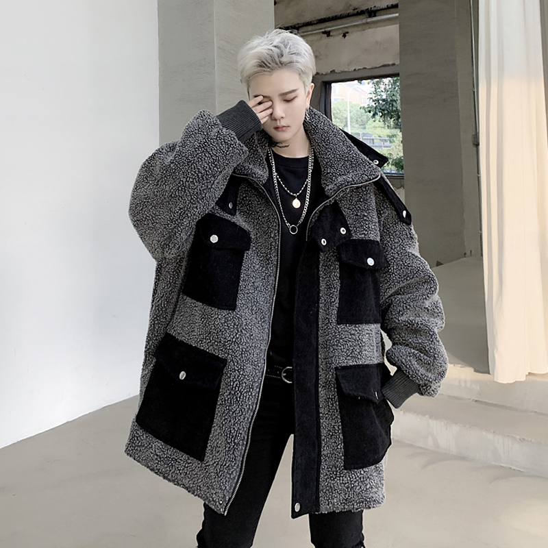 Winter black corduroy multi-pocket patchwork loose cotton suit fashion menswear lamb coat