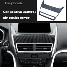 Car Styling Carbon fiber Auto Central Control Outlet Air Vent Frame Cover Trim Sticker For Mitsubishi Eclipse Cross 2018