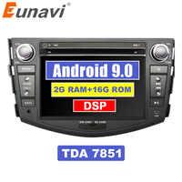 Eunavi 2 din Android 9 samochodowy odtwarzacz dvd odtwarzacz multimedialny dla Toyota rav4 rav 4 2007-2011 podwójne din radio gps słuchawki stereo subwoofer 7'' TDA7851 DSP