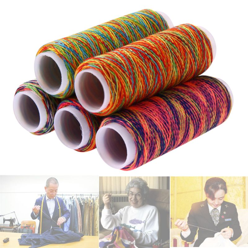 5Pcs/Set Gradient Rainbow Colorful Polyester Thin Hand Sewing Thread Embroidery Stitching Yarn DIY Knitting Accessories