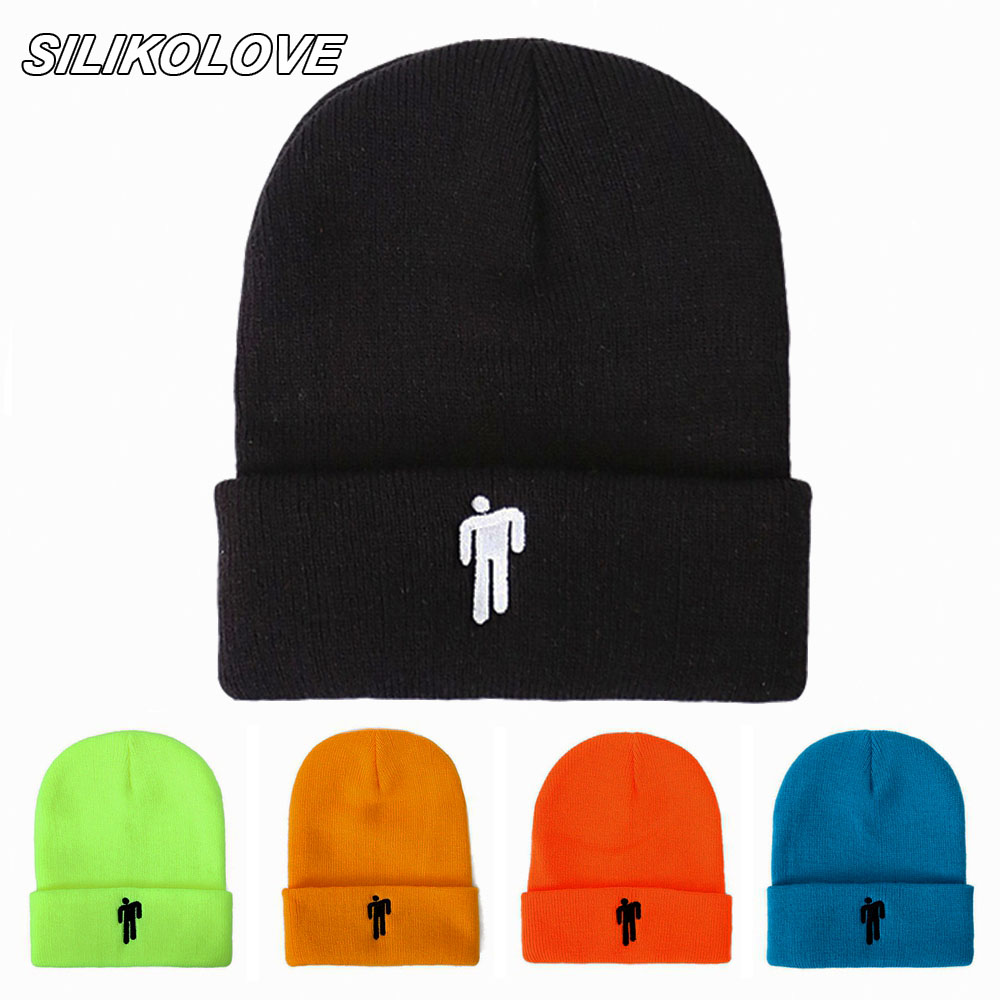 New Fashion Billie Eilish Embroidery Knitted Autumn Winter Hats Women Cotton Beanie Hats Gorros Mujer Invierno