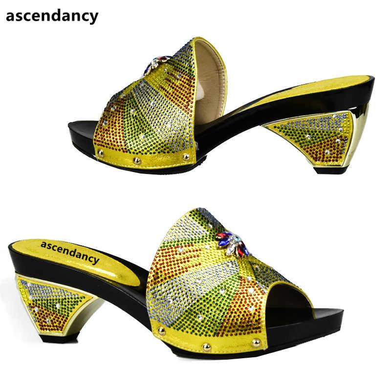 Sarı Renk Afrika Ayakkabı ve Çanta Eşleşen İtalyan Satış Kadın Eşleşen Ayakkabı ve çanta seti Nijeryalı Ayakkabı ve Eşleşen Çanta