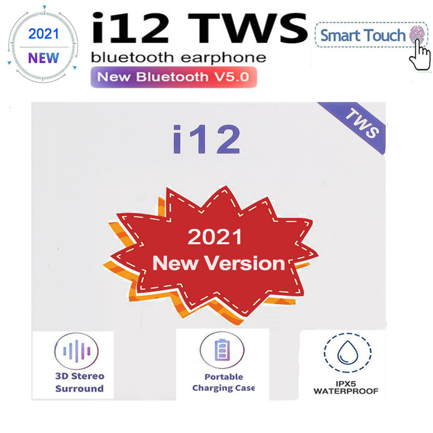 2021 neue i12 TWS wireless mini HiFi Bluetooth 5,0 headset 1:1 original, geeignet für alle Xiaomi smartphones PK air 12 20 pro max