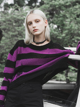PUNKRAVE Women's Punk Style Autumn Long Sleeves Blouse Loose Round Neck Hole Striped Asymmetrical Female Sweater