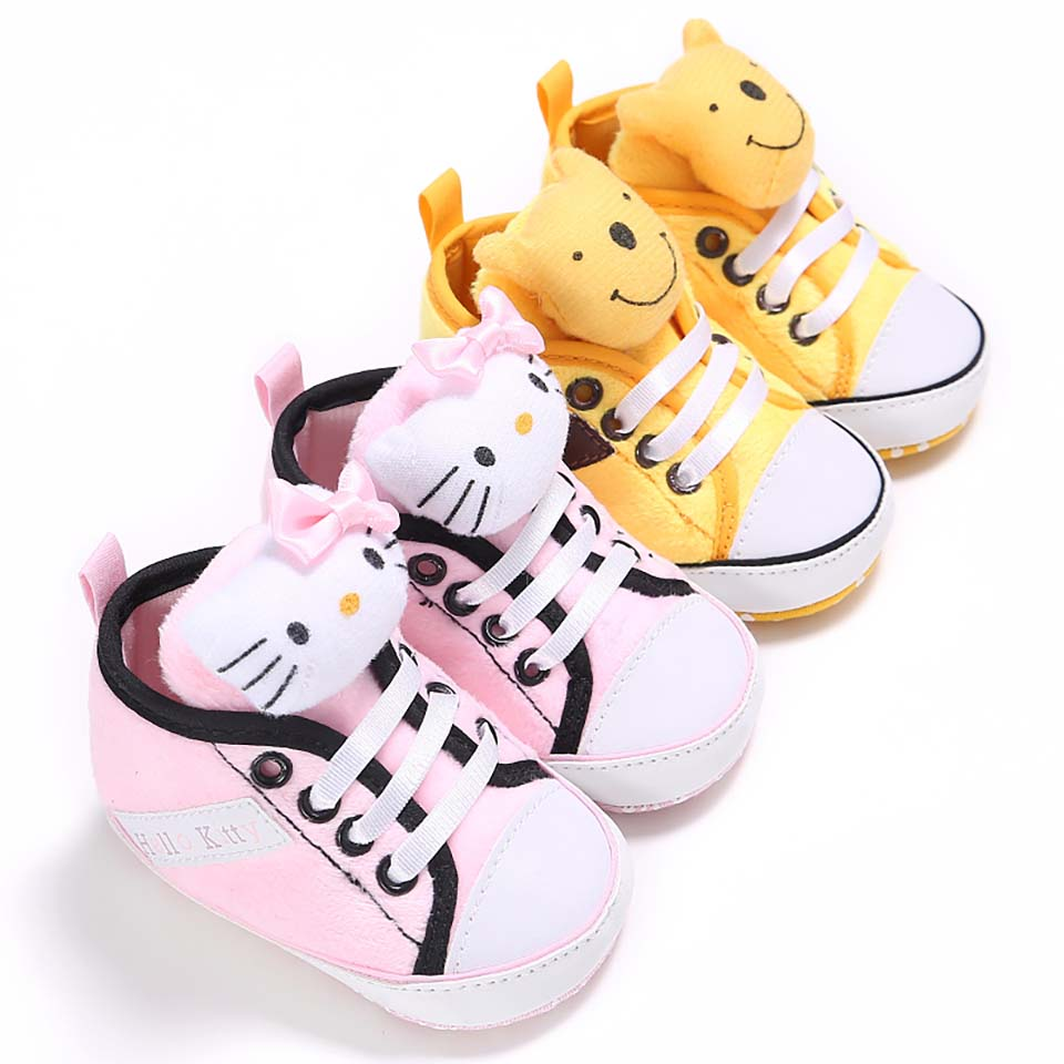 Baby Shoes Newborn First Walker Baby Boy Boots Soft Sole Girls Casual Soft Sole Canvas Shoes Cute Cartoon Cat Bear Baby Sneakers