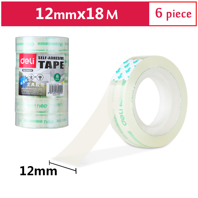 Deli Transparent High Viscosity Easy To Tear Stationery Tape 12mm * 18m 6 Rolls/Lot School Office Supplies 30029
