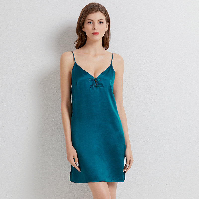 Summer Nightgown Lady Suspender 100% Silk Nightdress Women Silky Sexy Sleep Dress With Buttons V-neck Mini Nightwear