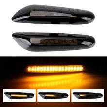 2Pcs/set Car Turn Signals Blinker Lamp Dynamic Flowing Smoke Lens LED Side Marker Light For BMW E60 E90 E91 E92 E93 X1 X3 X5