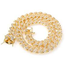 12mm encryption Micro Pave Iced CZ Cuban Link Necklaces Chains Gold Bling Bling Jewelry for men women Fashion Hiphop(China)