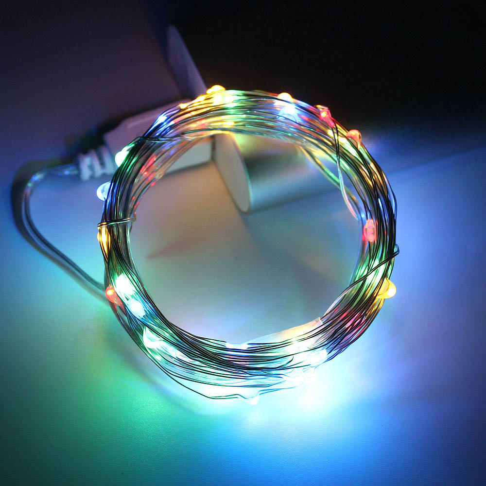 5m 10m LED String Lights Silver Wire Fairy Lights Garland Powered By USB Home Decoration Birthday Wedding Party Holiday Lighting