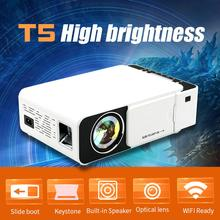 T5 Mini Portable LCD Video Projector 3000 Lumens 4K 3D 1080P HD Home Multimedia Cinema Projector IR USB AV VGA HDMI Port