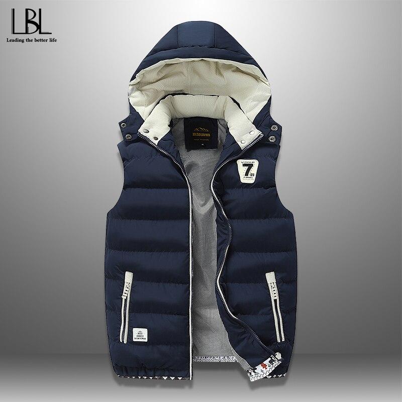 2019 New Men Casual Winter Vest Warm Men's Sleeveless Jacket Hooded Vests Fashion Overcoat Autumn Waistcoat Hat Detachable M-5XL