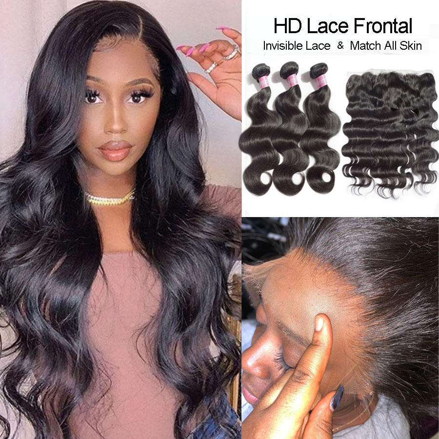 HD Lace Frontal With Bundles Brazilian Hair Weave Body Wave Bundles With HD Closure Virgin Human Hair With HD Frontal Closure