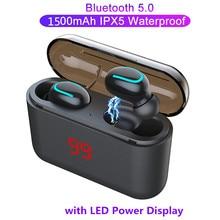 HBQ Q32 TWS Bluetooth 5.0 Earphone LED Wireless Headset Mini IPX5 Waterproof Sports Headphones for iPhone Xiaomi iOS Earbuds