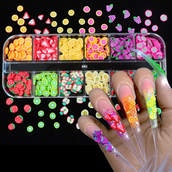 12 Colors/Box 3D Fruit Tiny Slices Sticker Mixed Style Polymer Clay Nail Art Decoration DIY Designs Nails Tips Gel Accessories 3d multi designs 1000 pcs 1 bag fruit slices nail art diy designs nail art slices for slicing nail art decoration pb10 1 32