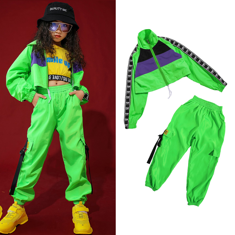 Children'S Jazz Dance Costume Girls Hip-Hop Clothing Street Dance Fluorescent Green Set Modern Dance Performance Wear DQS2905