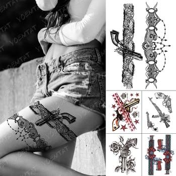 Waterproof Temporary Tattoo Stickers Black Lace Flower Spider Web Gun Chain Cool Flash Tattoos Woman Arm Body Art Fake Tatoo Men