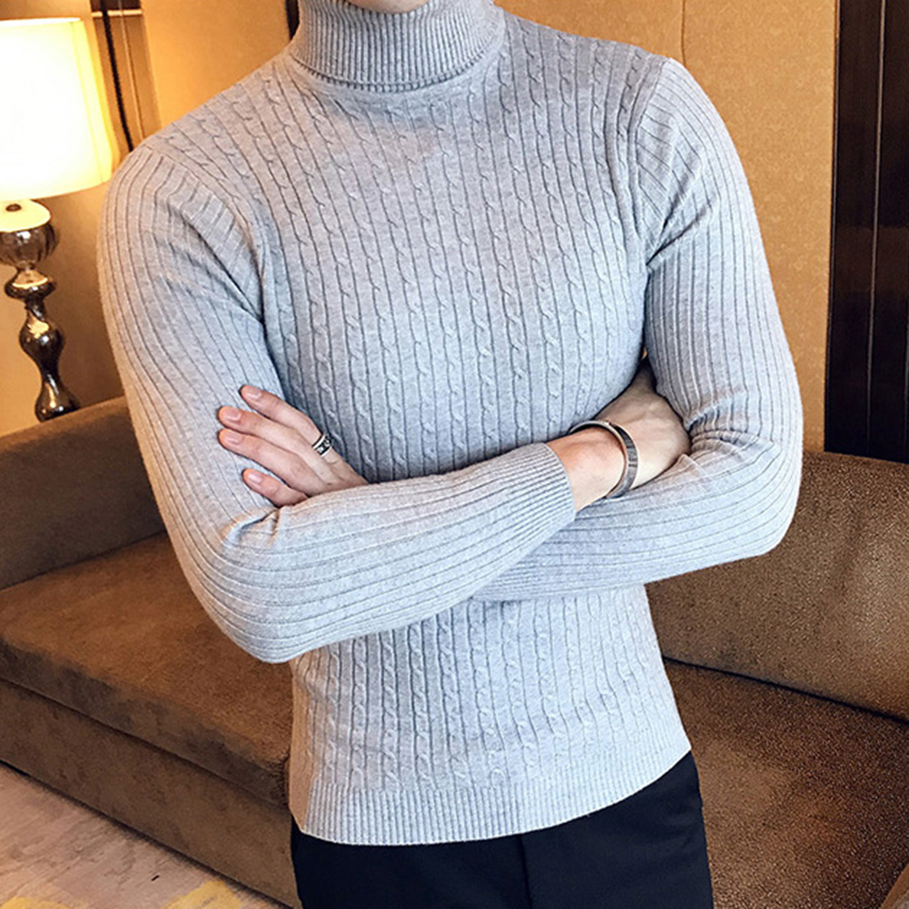 Casual Men Winter Solid Color Turtle Neck Long Sleeve Twist Knitted Slim Sweater Men's Knitted Sweaters Pullover Men Knitwear 3