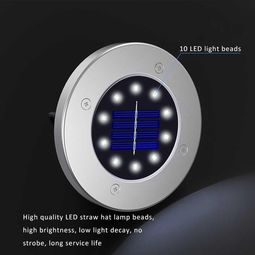 10 светодиодов Красочный погребенный свет Солнечный свет IP65 водонепроницаемый дорожные огни дома экологически чистый прочный заземляющий светильник желоб