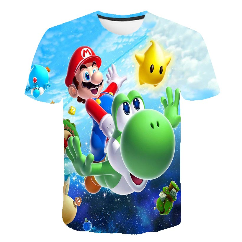 Primary And Secondary School Students Summer Clothing Children's Clothing T-shirt Street 3D Boy Mario Supersonic Sound Wave Prin