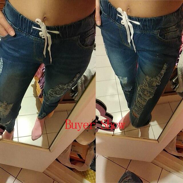 Luz Azul Jeans rasgados para damas 2021 calle estilo Sexy Mid Rise Distressed Pantalón Stretch Skinny agujero pantalones de Vaqueros pitillo 5