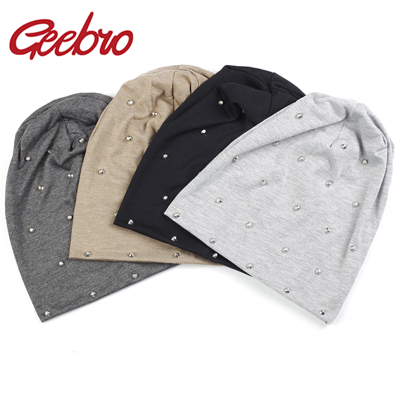 Geebro New Spring Women Soft Metallic Rhinestones Slouchy Skullies Beanies Hat And Caps Autumn Ladies Girls Baggy Bonnet Gorros