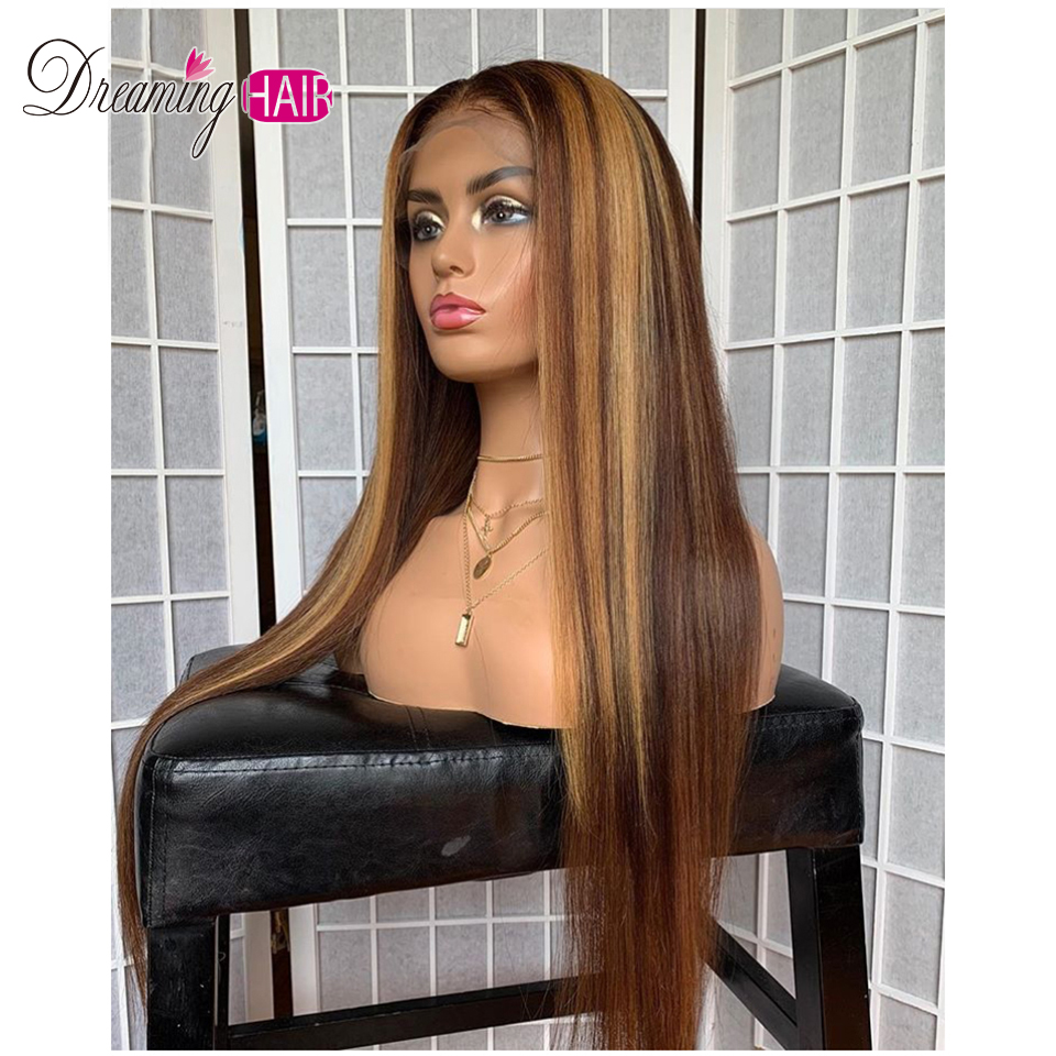 H64798409a7534aa28cca3e664dd82640T Highlight 13x6 Deep Part 1B 27 Ombre Honey Blonde Brazilian Straight Hair Lace Front Human Hair Wigs Pre Plucked With Baby Hair