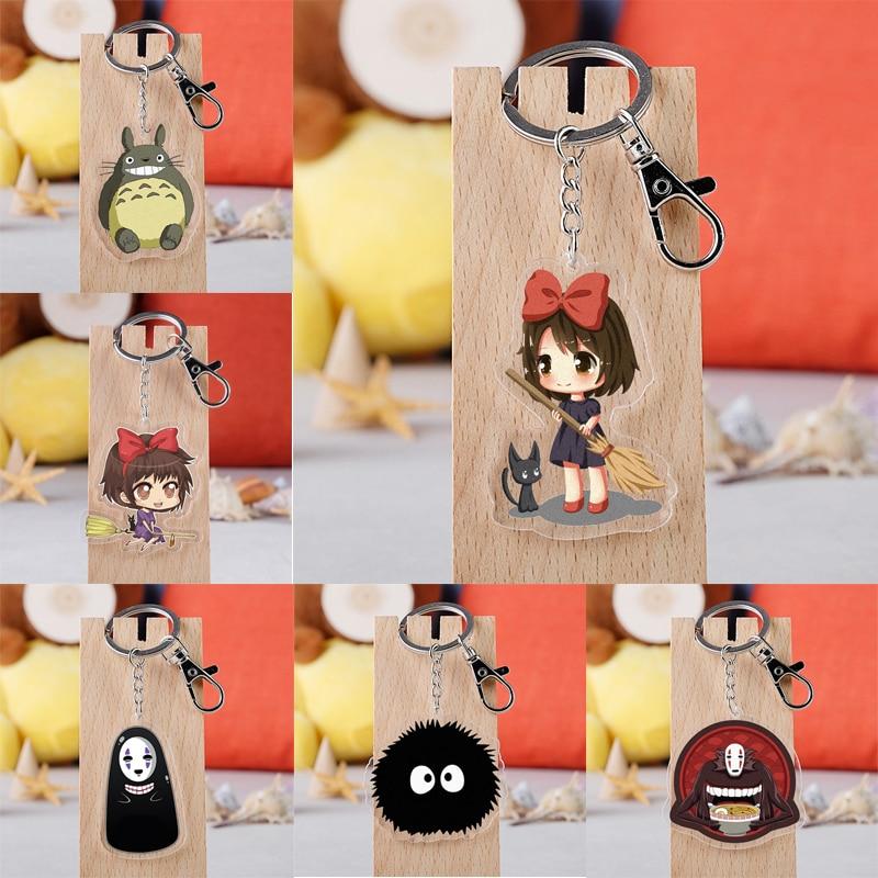 Anime Totoro Keychain Spirited Away No Face Man Acrylic Pendent Key Ring