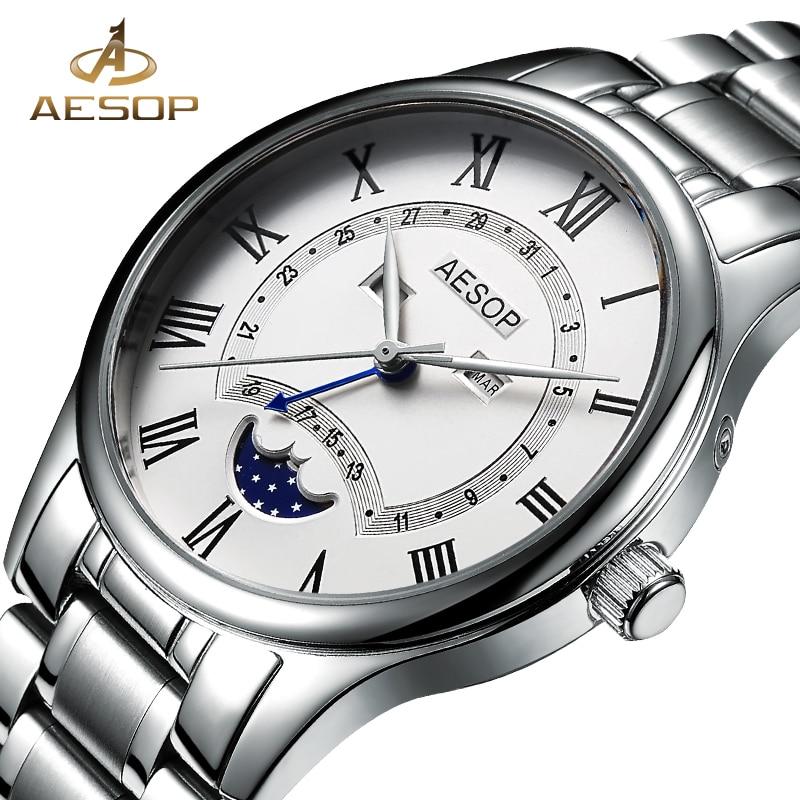 Aesop Watch Men Moon Phase Quartz Wrist Wristwatch Stainless Steel Male Clock Waterproof Relogio Masculino Hodinky 8848g
