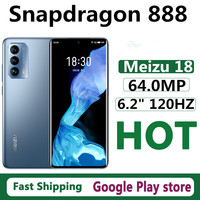 """New Meizu 18 5G Cell Phone Dual Sim Fingerprint 6.2"""" 120HZ Snapdragon 888 Face ID 64.0MP Android 10.0 OTA 30W Charger OTG GPS 1"""